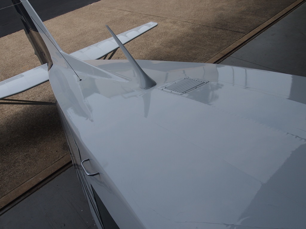"Top of Fuselage - very light and not many fabric paint ""cracks"""