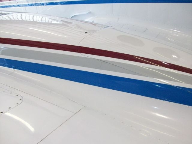 Left hand nacelle showing the colors of the aircraft up close